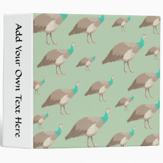 Bird Pattern on Green, Peahens. Binder