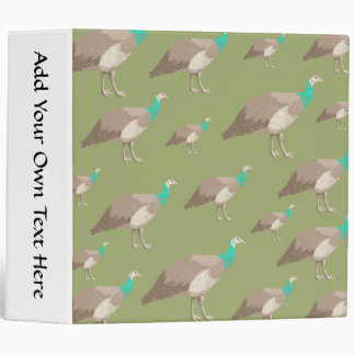 Bird Pattern on Olive Green. Peahens. 3 Ring Binder