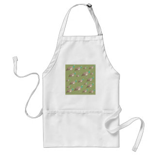 Bird Pattern on Olive Green. Peahens. Adult Apron