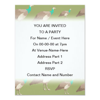 Bird Pattern on Olive Green. Peahens. 4.25x5.5 Paper Invitation Card