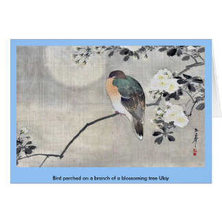 Bird perched on a branch of a blossoming tree Ukiy Card