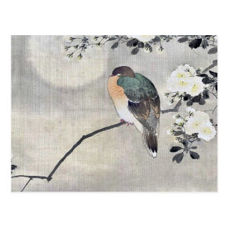 Bird perched on a branch of a blossoming tree Ukiy Postcard