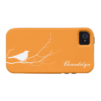 Bird perched on tree branch white orange chic Case-Mate iPhone 4 covers
