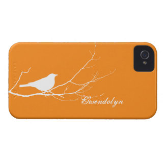 Bird perched on tree branch white orange chic iPhone 4 cases