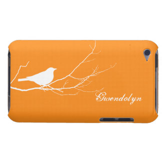 Bird perched on tree branch white orange chic iPod touch cover