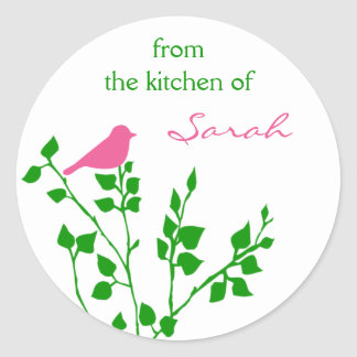 Bird Personalized Pink Green Baking Stickers