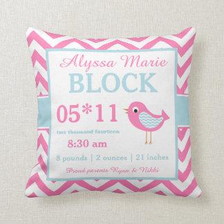 Bird Pink Blue Baby Announcement Pillow