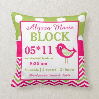 Bird Pink Green Baby Announcement Pillow