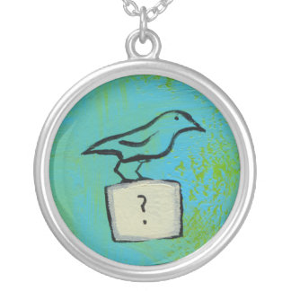 Bird question mark colorful art Orderly Universe Silver Plated Necklace