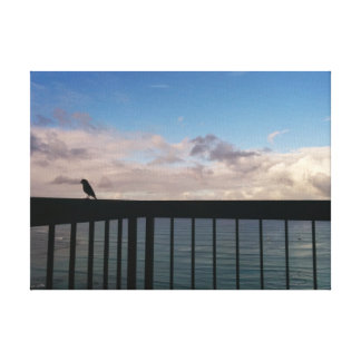 Bird Resting over the Pacific Gallery Wrap Canvas