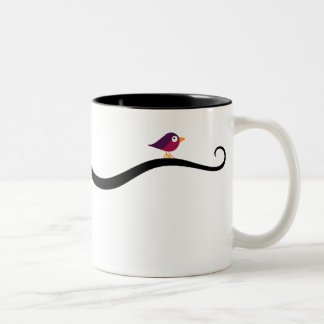 Bird roosting on cat's tail Two-Tone coffee mug