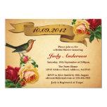 Bird Rose Antique Bridal Shower Invitation