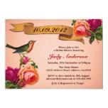 Bird Rose Antique Bridal Shower Invitation (Pink)