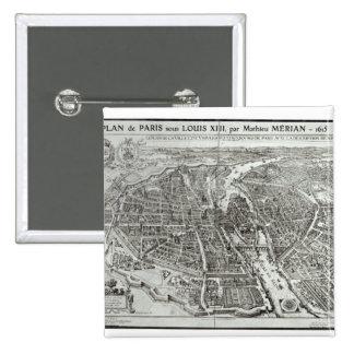 Bird s Eye Plan of Paris 1615 Button