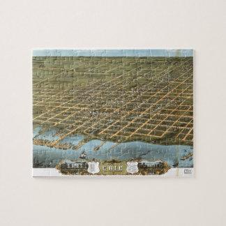 Bird s Eye View City of Erie Pennsylvania 1870 Puzzle