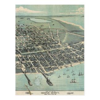 Bird s Eye View Map of Corpus Christi Texas 1887 Postcard