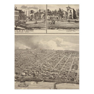 Bird s eye view of Muscatine City residences Postcard