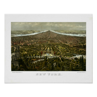 Bird s-eye view of New York with Central Park Poster