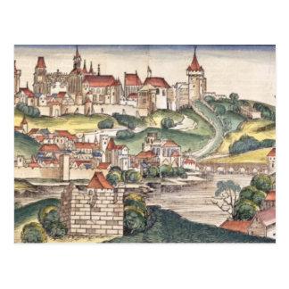 Bird s Eye View of Prague from the Nuremberg Chron Postcard
