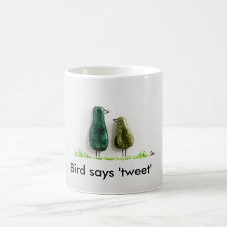 Bird says 'tweet' 2 cute love birds green ceramic classic white coffee mug