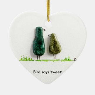 Bird says 'tweet' 2 cute love birds green ceramic Double-Sided heart ceramic christmas ornament