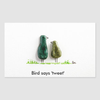 Bird says 'tweet' 2 cute love birds green ceramic rectangular sticker