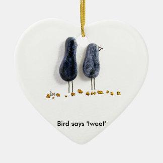 Bird says 'tweet' cute blue ceramic couple Double-Sided heart ceramic christmas ornament