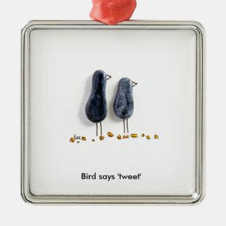 Bird says 'tweet' cute blue ceramic couple square metal christmas ornament