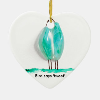 Bird says 'tweet' cute couple in love green glass Double-Sided heart ceramic christmas ornament