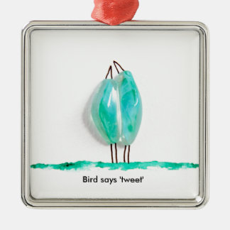 Bird says 'tweet' cute couple in love green glass square metal christmas ornament