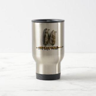Bird says 'tweet' cute hematite couple 15 oz stainless steel travel mug