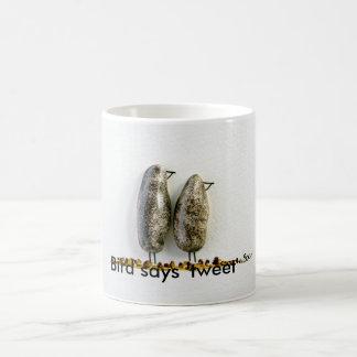 Bird says 'tweet' cute hematite couple classic white coffee mug