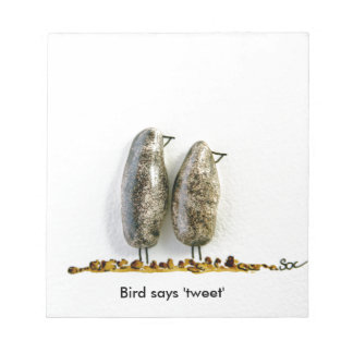 Bird says 'tweet' cute hematite couple notepad