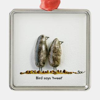 Bird says 'tweet' cute hematite couple square metal christmas ornament
