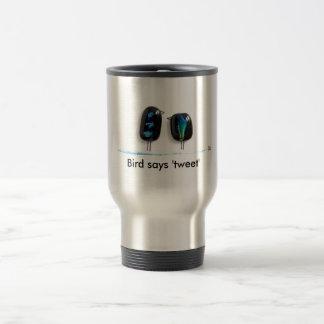 Bird says tweet - fun love birds in blue glass 15 oz stainless steel travel mug