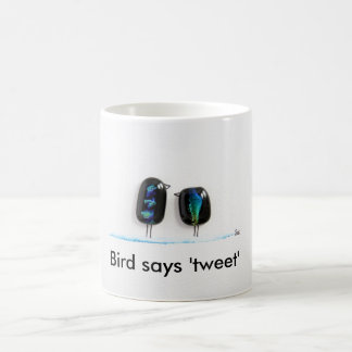 Bird says tweet - fun love birds in blue glass classic white coffee mug