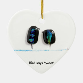 Bird says tweet - fun love birds in blue glass Double-Sided heart ceramic christmas ornament