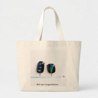 Bird says tweet - fun love birds in blue glass jumbo tote bag