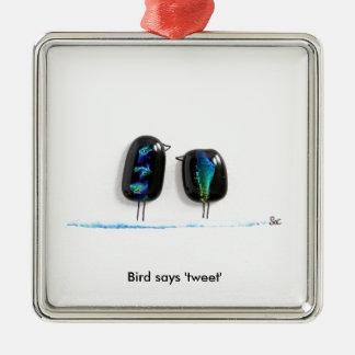 Bird says tweet - fun love birds in blue glass square metal christmas ornament