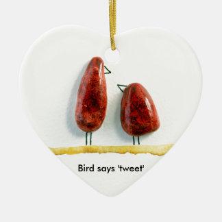 Bird says 'tweet' love birds sparkly red ceramic Double-Sided heart ceramic christmas ornament