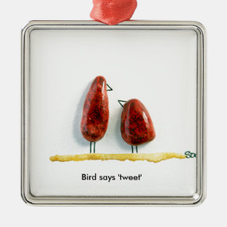 Bird says 'tweet' love birds sparkly red ceramic square metal christmas ornament