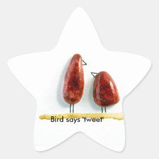Bird says 'tweet' love birds sparkly red ceramic star sticker