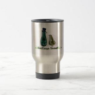 Bird says 'tweet' Wedding couple in green ceramic 15 Oz Stainless Steel Travel Mug