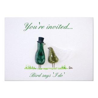 Bird says 'tweet' Wedding couple in green ceramic 5x7 Paper Invitation Card