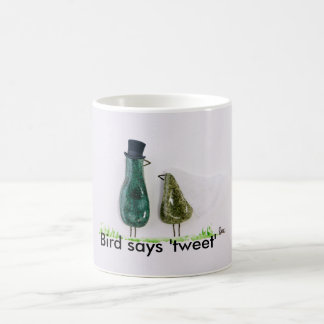 Bird says 'tweet' Wedding couple in green ceramic Classic White Coffee Mug