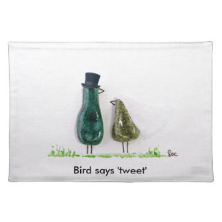 Bird says 'tweet' Wedding couple in green ceramic Cloth Placemat
