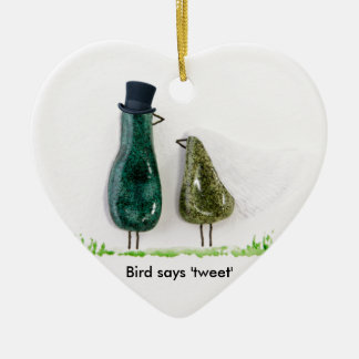 Bird says 'tweet' Wedding couple in green ceramic Double-Sided Heart Ceramic Christmas Ornament