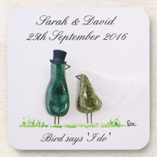 Bird says 'tweet' Wedding couple in green ceramic Drink Coaster