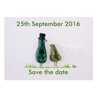 Bird says 'tweet' Wedding couple in green ceramic Large Business Card
