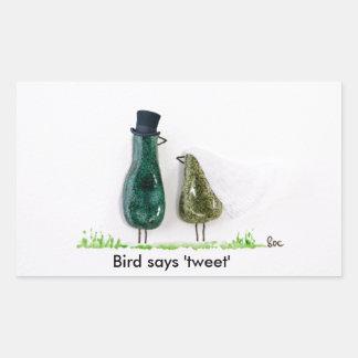 Bird says 'tweet' Wedding couple in green ceramic Rectangular Sticker